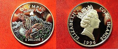 1996 Cook Is Silver Proof color $1-Eagle/Olympic Park