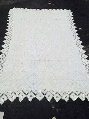 "CROCHET Tablecloth LACE Vintage IVORY POPCORN Granule CROCODILE Stitch 62""X96"""