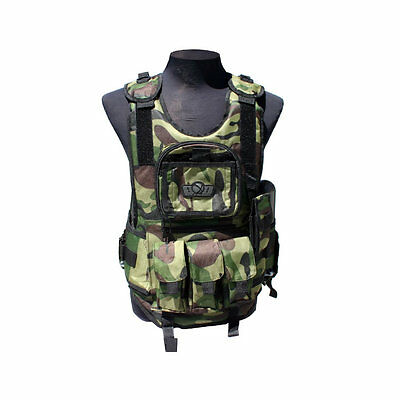 GXG Deluxe Tactical Paintball Vest Harness - Woodland Camo