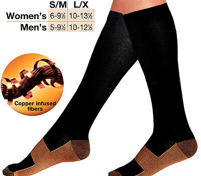 Unisex Copper Infused Fibers Compression Relief Support Varicose Veins Stockings