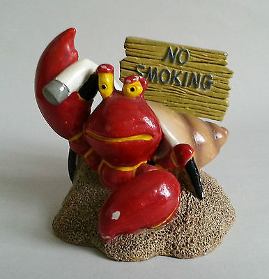 NO SMOKING Ornament. Hermit Crab with Cigarette Dog End. Contemporary Kitsch