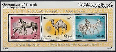 Sharjah 1972 ** Bl.159a Space Weltraum APOLLO with ovpt., Tiere Animals