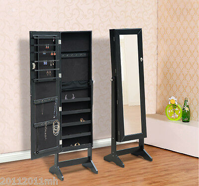 HOMCOM Mirrored Jewelry Cabinet Display Armoire Organizer Storage W/ Stand