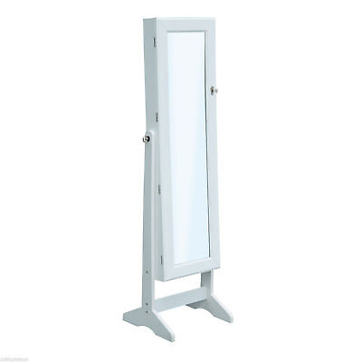 Mirrored Jewelry Cabinet Organizer Storage Display Stand Armoire Case White