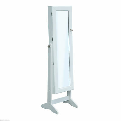 Mirrored Jewelry Cabinet Display Armoire Organizer Storage W/ Stand-White