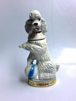 1970 Jim Beam's Trophy White Penny Poodle Whiskey Decanter