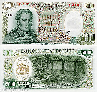 CHILE 5000 Pesos Banknote World Money Currency Note p147b South America Bill