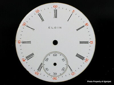 Vintage Enamel Elgin 33mm Pocketwatch Dial out of an Estate! Very Nice Shape!