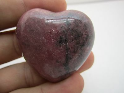"Large. 1.8"" (45Mm)  Rhodonite  Puffy Heart Great Color #13 -Compare @ $12.88"
