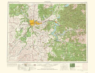 TOPOGRAPHICAL MAP - Spokane Washington, Idaho, Montana - USGS 1965 - 23 x  30.02