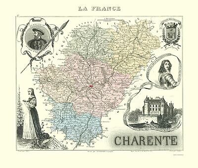 Old France Map - Charente Region - Migeon 1869 - 23 x 27.04