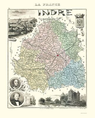 Old France Map - Indre Region - Migeon 1869 - 23 x 28.54