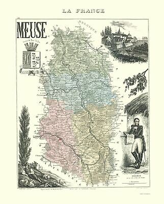 Old France Map - Meuse Region - Migeon 1869 - 23 x 28.54