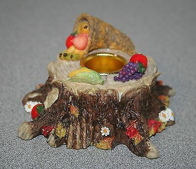 ~rare~TLP THIS LITTLE PIGGY TREE STUMP with FRUIT CANDLE HOLDER figurine MIB G20