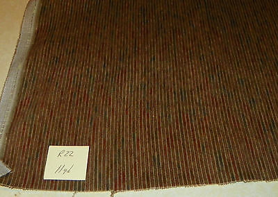 Brown Burgundy Blue Stripe Velvet Upholstery Fabric  1 Yard  R22