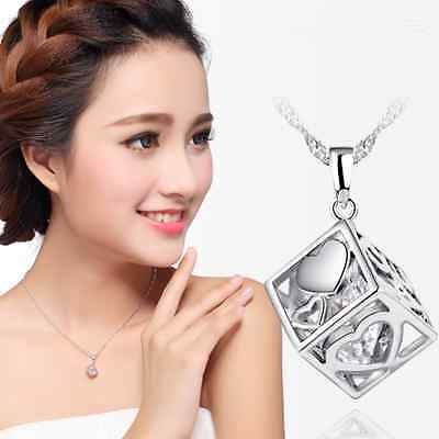 Fashion women's 1PC Sterling silver Plated Love cube Pendant Necklace jewelry