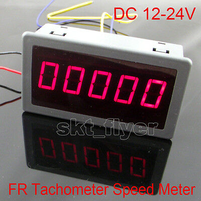 DIGITAL RED LED Frequency Tachometer Rotate Speed Meter DC12-24V Car 79*43mm