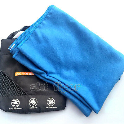 Blue Travel Camping Microfiber Quick-Drying Towel Shower Beach 80*40cm Swim