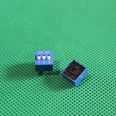 10pc 3 Way DIP Switch, 3 Position 3 pin Miniature/Mini/Micro/Small PCB Mountable