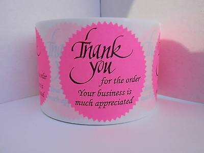 36 Thank you for the order Your business is much appreciated Sticker Label pink