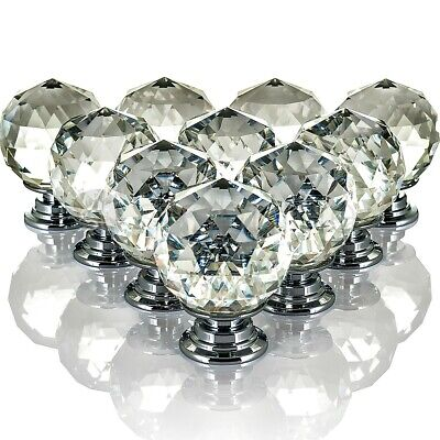 Livivo 10 Drawer Door Knobs Diamond Crystal Cupboard Wardrobe Furniture Handle