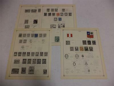 Collection of 11 Antique 1874-1926 Peru Postage Stamps On Page - Make an Offer