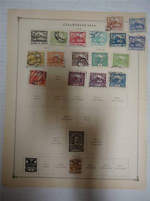 Old Czechoslovakia Postage Stamps 1918-1922 On Page Lot of 17