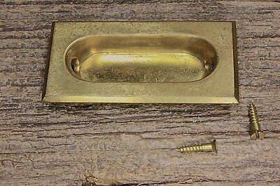 Flush Sash Lift Recessed Pull pocket door gloss tarnished yellow BRASS vintage