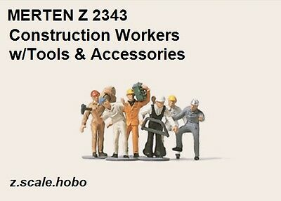 Merten 2343 Z Scale Construction Workers Tools Accessories Figures *NEW $0 SHIP