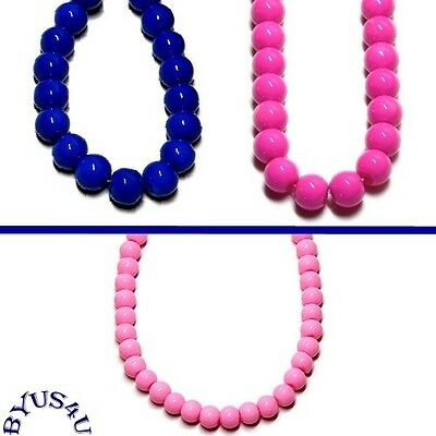 GLASS BEADS ROUND DRUK choose color size VIBRANT SOLID COLORS 16 inch strand