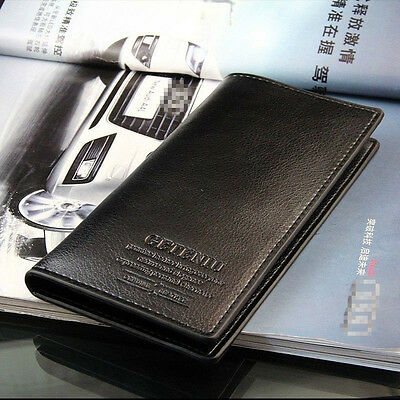 Mens Long Casual Leather Black Wallet Pockets Card Clutch Cente Bifold Purse
