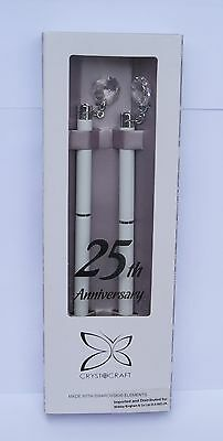 25th SILVER WEDDING ANNIVERSARY GIFT-BOXED IDENTICAL PENS with CLEAR CRYSTAL-NEW