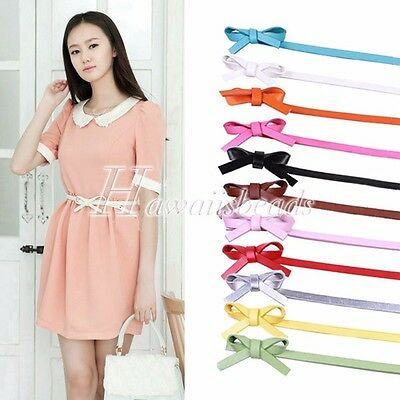 Ladies Girl Butterfly Candy Color Faux Leather Waistband Skinny Belt 100cm
