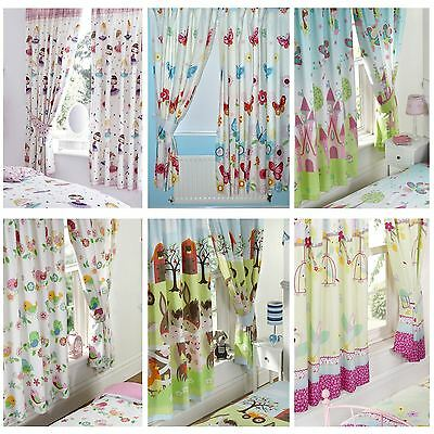 "GIRLS BEDROOM CURTAINS IN VARIOUS DESIGNS 66"" x 72"" FULLY LINED WITH TIE BACKS"