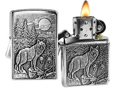 Zippo Lighter 20855 Timber Wolves Emblem Brushed Chrome Classic NEW