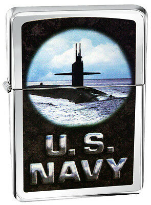 Zippo Lighter 28579 United States Navy Submarine Street Chrome Classic NEW