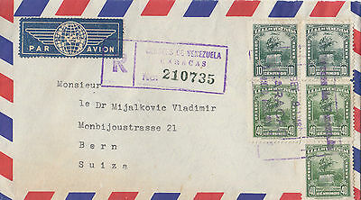 Stamps VENEZUELA various issues on airmail cover sent registered to Switzerland