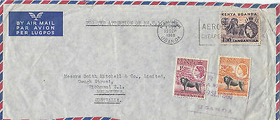 Stamps 1960 KUT various QE2 issues on airmail cover sent to Melbourne Australia