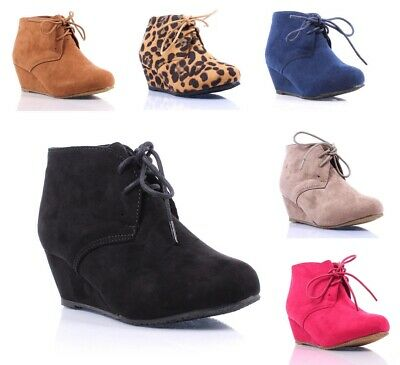 New Faux Suede Pumps Lace Up Girls High Heels Kids Ankle Boots Youth Size Shoes