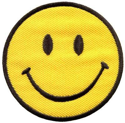 Smiley face retro boho hippie 70s fun smile applique iron-on patch new S-716