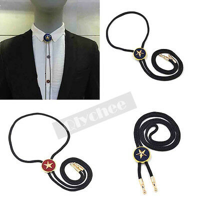 Metal Star Leather Rope Dance Rodeo Western Cowboy Bola Bolo Tie Necklace