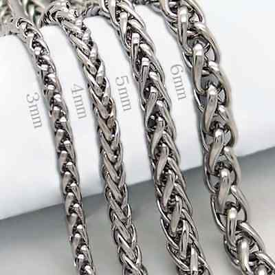 Good Unique Necklace Cool  Silver Stainless Steel Braided 3/4/5/6MM 18-36""