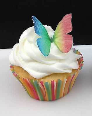 60 x Mini Rainbow Butterfly Edible Cupcake Toppers Cake Decorations Wafer Rice P