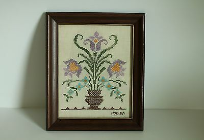 Beautiful Vintage Framed Cross Stitch With Flowers Signed 1969