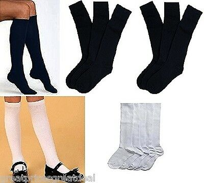 3 6 12 Pairs Girls School Knee High Socks Secrets #419 White Navy 4-6 6-8 9-11