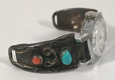 Vintage Southwestern Turquoise Coral Sterling Silver Watch Band