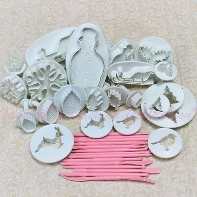 10 Sets 36pcs Xmas Sugarcraft Cake Decorating Fondant Icing Plunger Cutters #S