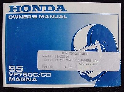 Orig 1995 Honda 750 Vf750C Vf750Cd Magna Motorcycle Operators Manual Very  Nice