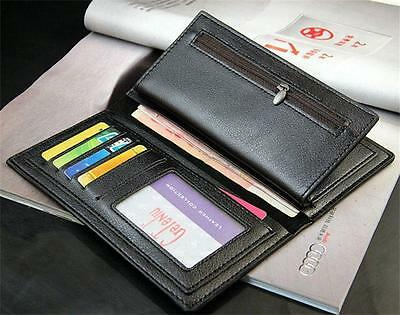 Coolest Mens Casual Leather Long Wallet Pockets Card Clutch Cente Bifold Purse