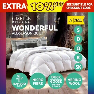Giselle Bedding Wool/Duck/Goose Down Feather /Microfiber Quilt Doona All Size